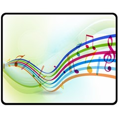 Color Musical Note Waves Double Sided Fleece Blanket (medium)