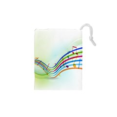 Color Musical Note Waves Drawstring Pouches (xs)
