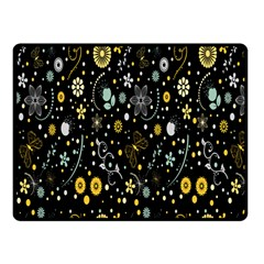 Floral And Butterfly Black Spring Fleece Blanket (small) by Alisyart