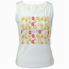 Flower Arrangements Season Rose Gold Women s White Tank Top