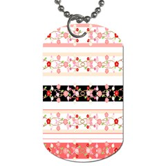 Flower Arrangements Season Floral Rose Pink Black Dog Tag (two Sides) by Alisyart