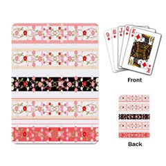 Flower Arrangements Season Floral Rose Pink Black Playing Card by Alisyart