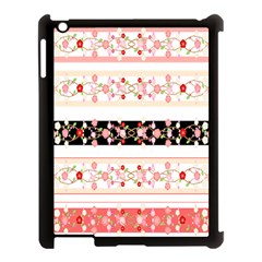 Flower Arrangements Season Floral Rose Pink Black Apple Ipad 3/4 Case (black) by Alisyart