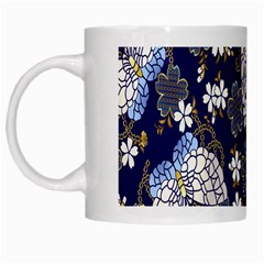 Butterfly Iron Chains Blue Purple Animals White Fly Floral Flower White Mugs