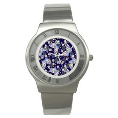 Butterfly Iron Chains Blue Purple Animals White Fly Floral Flower Stainless Steel Watch by Alisyart