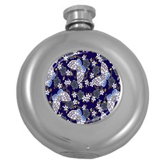 Butterfly Iron Chains Blue Purple Animals White Fly Floral Flower Round Hip Flask (5 Oz) by Alisyart