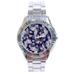 Butterfly Iron Chains Blue Purple Animals White Fly Floral Flower Stainless Steel Analogue Watch