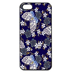 Butterfly Iron Chains Blue Purple Animals White Fly Floral Flower Apple Iphone 5 Seamless Case (black)