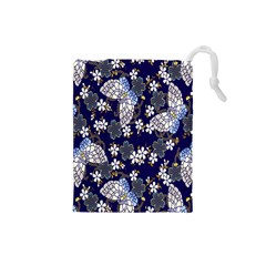 Butterfly Iron Chains Blue Purple Animals White Fly Floral Flower Drawstring Pouches (small)