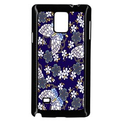 Butterfly Iron Chains Blue Purple Animals White Fly Floral Flower Samsung Galaxy Note 4 Case (black) by Alisyart