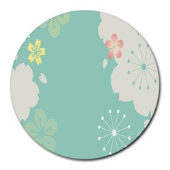 Flower Blue Pink Yellow Round Mousepads