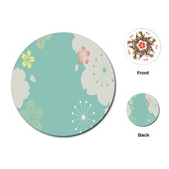 Flower Blue Pink Yellow Playing Cards (round)