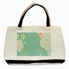 Flower Blue Pink Yellow Basic Tote Bag