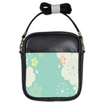 Flower Blue Pink Yellow Girls Sling Bags Front