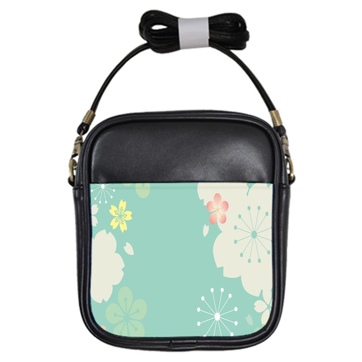 Flower Blue Pink Yellow Girls Sling Bags
