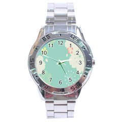 Flower Blue Pink Yellow Stainless Steel Analogue Watch