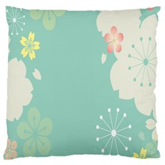 Flower Blue Pink Yellow Large Cushion Case (one Side) by Alisyart