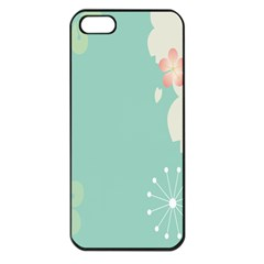 Flower Blue Pink Yellow Apple Iphone 5 Seamless Case (black)