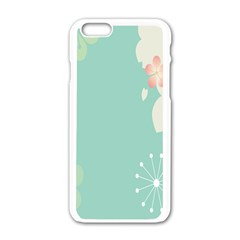 Flower Blue Pink Yellow Apple Iphone 6/6s White Enamel Case