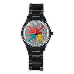 Arrows Center Inside Middle Stainless Steel Round Watch