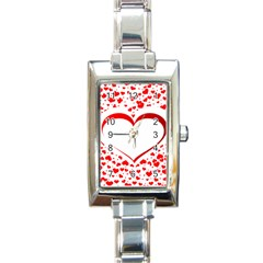 Love Red Hearth Rectangle Italian Charm Watch by Amaryn4rt