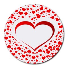 Love Red Hearth Round Mousepads
