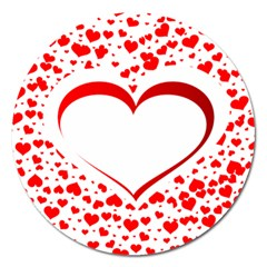 Love Red Hearth Magnet 5  (round) by Amaryn4rt