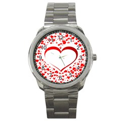 Love Red Hearth Sport Metal Watch by Amaryn4rt