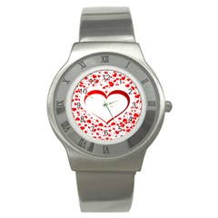 Love Red Hearth Stainless Steel Watch by Amaryn4rt