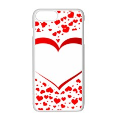 Love Red Hearth Apple Iphone 7 Plus White Seamless Case