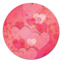 Hearts Pink Background Magnet 5  (round) by Amaryn4rt