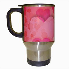 Hearts Pink Background Travel Mugs (white) by Amaryn4rt