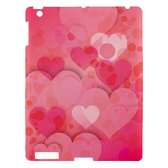 Hearts Pink Background Apple Ipad 3/4 Hardshell Case by Amaryn4rt