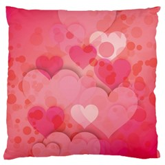 Hearts Pink Background Large Cushion Case (one Side)