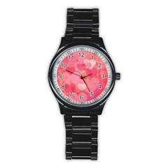 Hearts Pink Background Stainless Steel Round Watch by Amaryn4rt