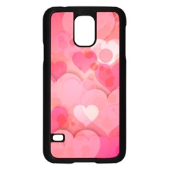 Hearts Pink Background Samsung Galaxy S5 Case (black) by Amaryn4rt
