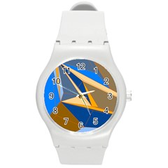 Abstract Background Pattern Round Plastic Sport Watch (m) by Amaryn4rt