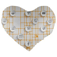 Icon Media Social Network Large 19  Premium Flano Heart Shape Cushions by Amaryn4rt