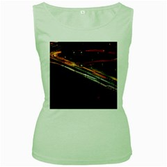 Highway Night Lighthouse Car Fast Women s Green Tank Top by Amaryn4rt