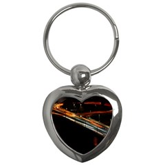 Highway Night Lighthouse Car Fast Key Chains (heart)  by Amaryn4rt