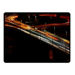 Highway Night Lighthouse Car Fast Fleece Blanket (small) by Amaryn4rt