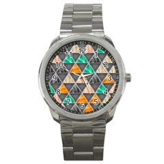 Abstract Geometric Triangle Shape Sport Metal Watch by Amaryn4rt