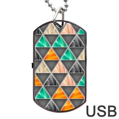 Abstract Geometric Triangle Shape Dog Tag Usb Flash (two Sides) by Amaryn4rt