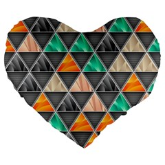 Abstract Geometric Triangle Shape Large 19  Premium Heart Shape Cushions by Amaryn4rt