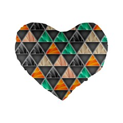 Abstract Geometric Triangle Shape Standard 16  Premium Flano Heart Shape Cushions by Amaryn4rt