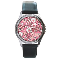 Flower Floral Red Blush Pink Round Metal Watch by Alisyart