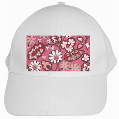 Flower Floral Red Blush Pink White Cap