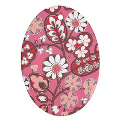 Flower Floral Red Blush Pink Ornament (oval)