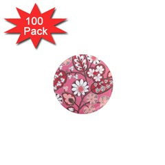 Flower Floral Red Blush Pink 1  Mini Magnets (100 Pack)  by Alisyart
