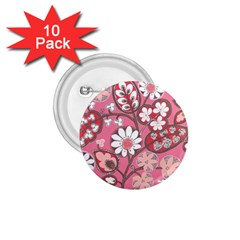 Flower Floral Red Blush Pink 1 75  Buttons (10 Pack)